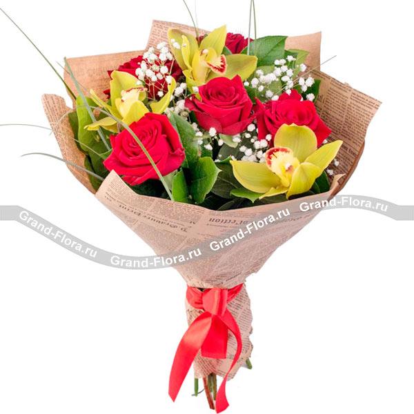Новые букеты Гранд Флора Элегантная роскошь - букет с красной розой и орхидеей фото