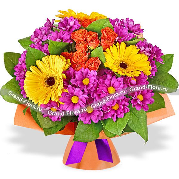 Цветы Гранд Флора Свидание в Рио - букет из хризантем и гербер(акционное предложение) фото