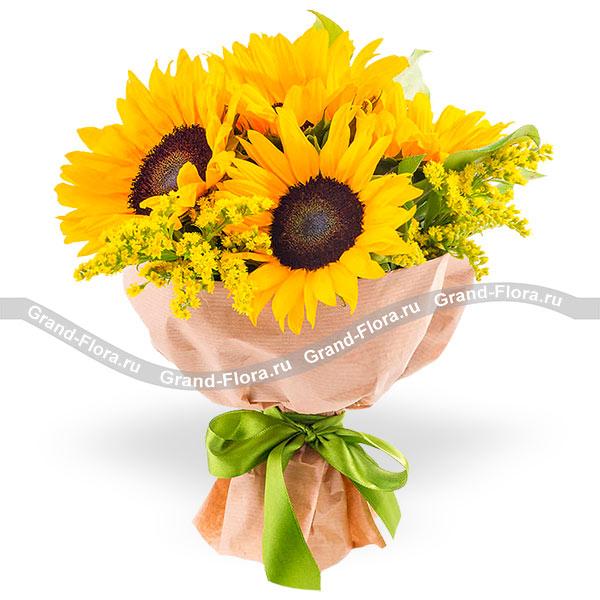 Подсолнухи Гранд Флора Солнечная романтика - букет подсолнухов фото