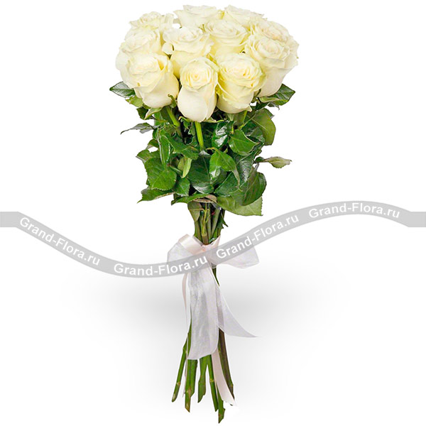 Цветы Гранд Флора 11 белых роз (70см)