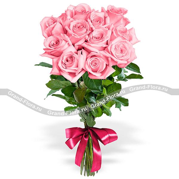 11 розовых роз (70см) фото
