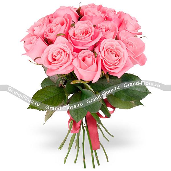 Цветы Гранд Флора 15 розовых роз (70см) фото