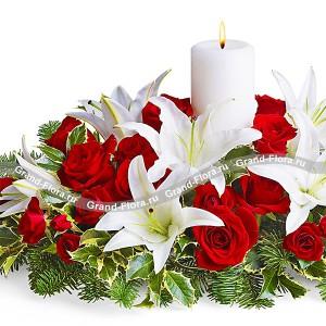 Новогодний очагЧто новогодний Дедушка Мороз подарит своей любимой половинке? Все, как в новогодней сказке – сказочное тепло домашнего очага. В зимнюю стужу, оно согреет сердце любимой, а в новогодний вечер станет прекрасным украшением праздничного стола. Букет Нов...<br>