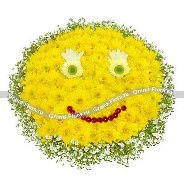 Эффектная композиция из желтых хризантем с декором